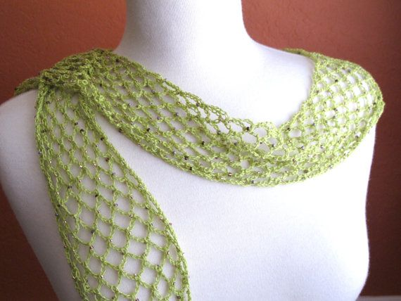 Crochet Scarf Pattern With Beads : Lacy Green Beaded Scarf. Crochet. Necklace.