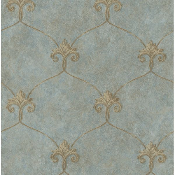 ARS26163 Blue Shimmering Ogee - Tuscan - Artiste Wallpaper by Chesapeake Fleur de Lis pattern blue and gold