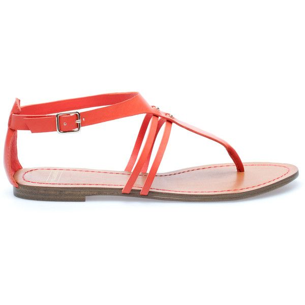 Pull & Bear Colour Sandals (17 AUD) ❤ liked on Polyvore featuring shoes, sandals, flats, sapatos, coral, coral flats shoes, flat heel sandals, coral shoes, coral flat shoes and flat pumps