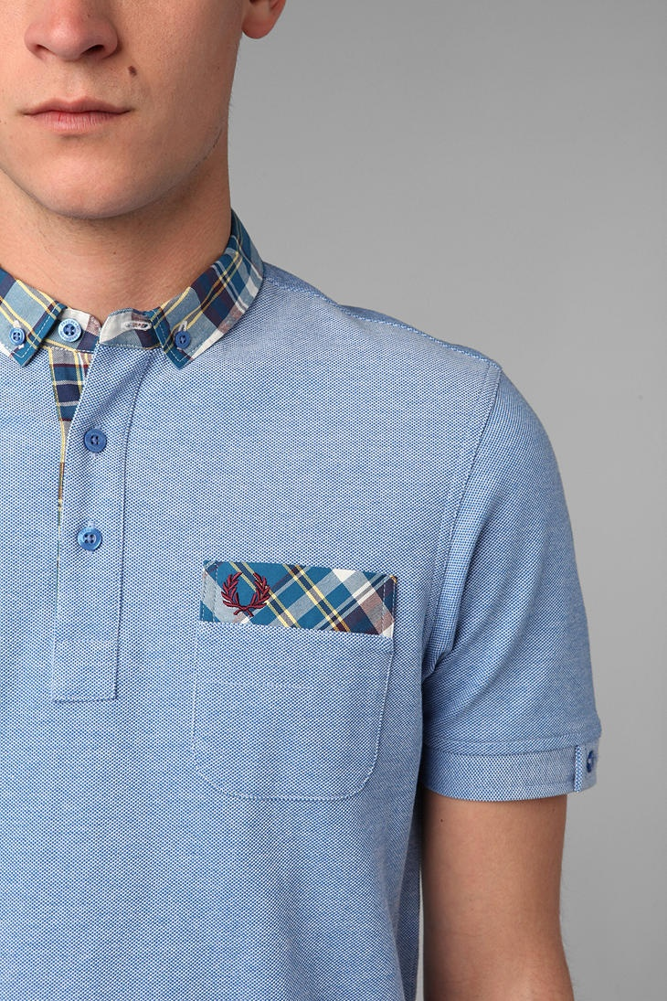 Fred Perry Madras Collar Polo Shirt UrbanOutfitters