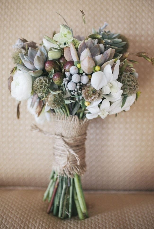 rustic wedding succulent bouquet with burlap wrap by brick kiln farm