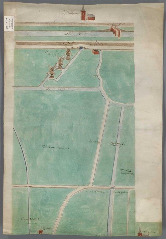 Schetskaart uit 1605 van drie wipmolens in de polder Reeuwijk. Het overtollige water werd in een wetering gemalen en via een duiker in de Hoge Rijndijk naar de Oude Rijn geleid. Bovenin de kaart zijn de kerk en de Rijnbrug van Bodegraven afgebeeld.