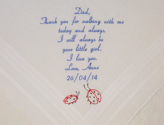 Dad Wedding Hankerchief Gift Father of the Bride Personalized Embroidered  Wedding Handkerchief gift for Dad Personalized By Napa Embroidery