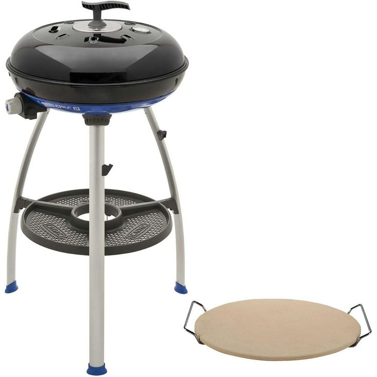 Cadac Carri Chef 2 Portable Propane Gas Grill in Black with Pot Ring, Grill Plate, Pizza Stone and Chef Pan