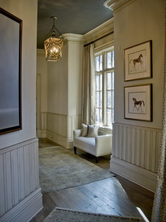 Hallway With Sky Color Ceiling And Painted Wainscot Http