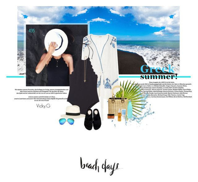 """Set # 495 / Perissa black volcanic sand beach , Santorini , Greece"" by vassiliki-g on Polyvore"