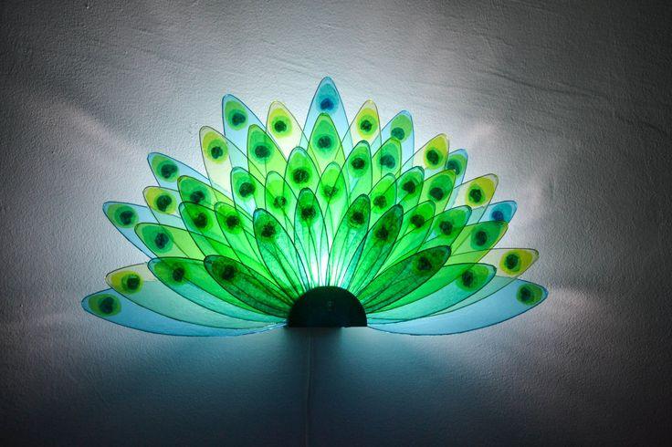 applique lampada pavone, peacok lamp di fiorediluce su Etsy