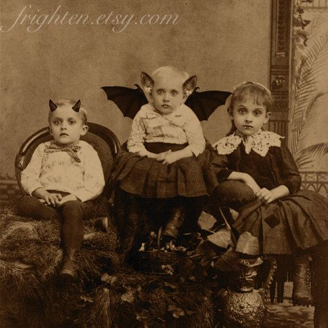Halloween Decor, Mixed Media Collage Print, We're a Creepy Family, Altered Victorian Portrait Print, frighten