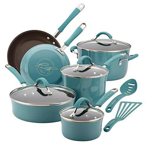 """Rachael Ray Cucina Cookware features rustic colors and brand new design that fuses comfy taste and on a regular basis functionality Crafted with durable aluminum and durable hard enamel porcelain exteriors; espresso-colored, PFOA-free nonstick releases foods effortlessly 1-qt saucepan with lid 3-qt saucepan with lid 6-qt stock pot with lid 8-1/2"""" skillet 10"""" skillet 3-qt saute"""