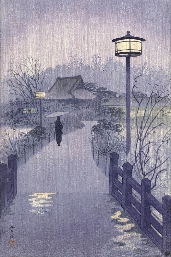 Japanese Art Print Evening Rain at Shinobazu pond