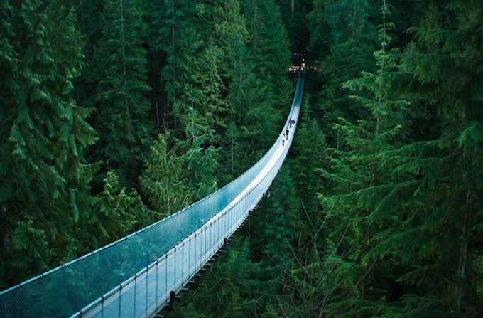 Capilano Suspension Bridge, Vancouver, British Columbia  The Capilano Suspension Bridge is a simple suspension bridge crossing the Capilano River in the District of North Vancouver, British Columbia, Canada. The current bridge is 140 metres (460 ft) long and 70 metres (230 ft) above the river.