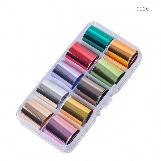 10 Design/set 2.5*100cm Holographic Nail Art Transfer Foil Stickers Paper Starry AB Color UV Gel Wraps Nail Adhesive Decals – holographic nail