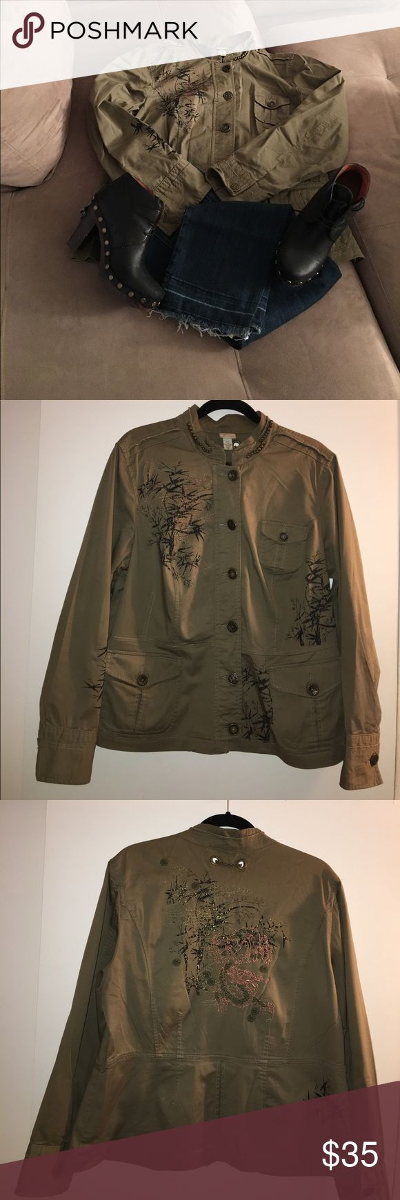Venezia Olive Green Jacket Gently Worn - Venezia by Lane Bryant Olive Green with Embroidery Dragon Jacket (Details Shown In Photos)                Light Weight                                                                                    Jeans & Shoes Not Included Lane Bryant Jackets & Coats