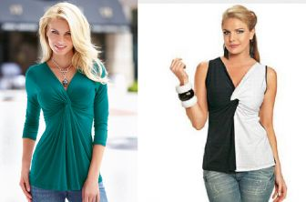 Blusa drapeada com nó Modelo de drapeado fácil de fazer que pode ser feita de uma cor só ou compondo com outra cor como esta preta e branca da Vestemoda. Segue esquema de modelagem da blusa sem manga, do PP ao EGG para malha.