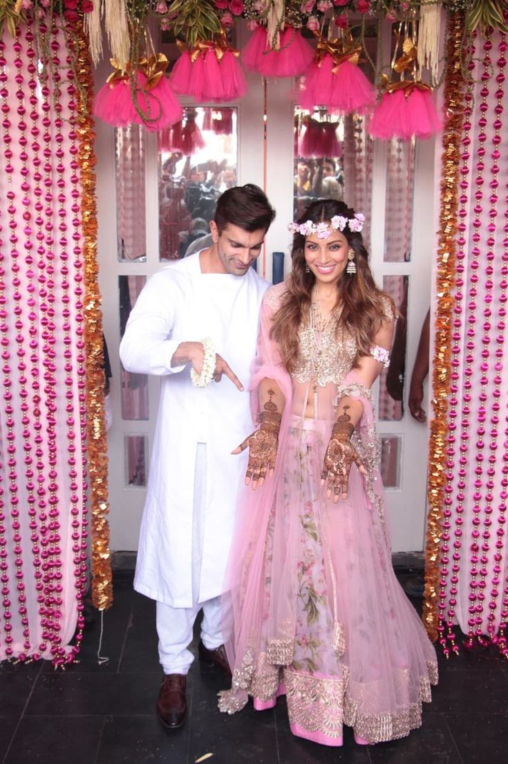 Bipasha Basu and Karan Singh Grover at their Sangeet and Mehendi - Anushree Reddy - flower crown -  bollywood - wedding - bride