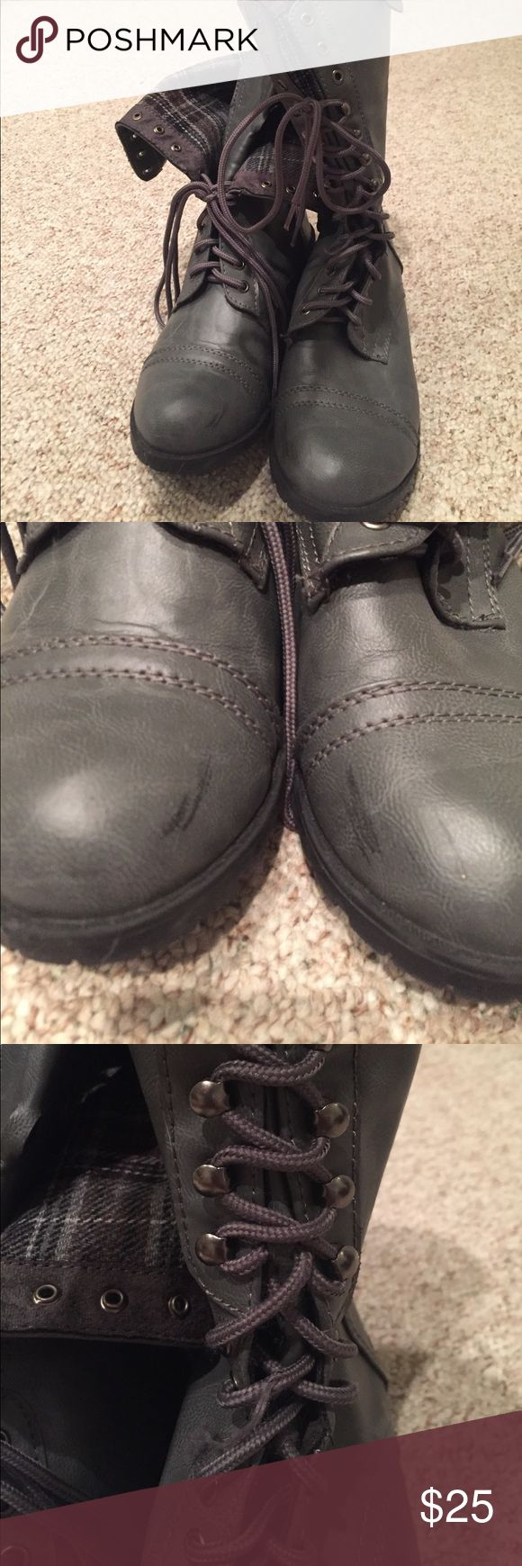 Charlotte Russe combat booties Grey faux leather booties with plaid inside. Scuff marks on tops of shoes (pictured). Pull in lace of one boot (pictured) Charlotte Russe Shoes Combat & Moto Boots