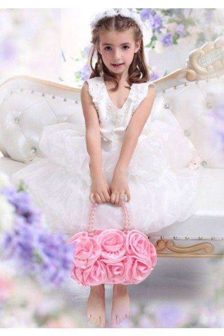 A ライン アイボリー 結婚式 子供 ドレス Falz0019