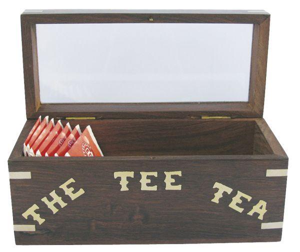 Maritime Teebeutel-Box Holz mit Glasdeckel