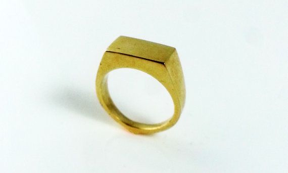 Gold Signet Ring  Rectangle Ring Handmade Mens Ring  by DuelingCo