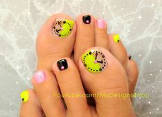 Fun neon clock toenail art design #pedicure #nailart #nails #toenailart