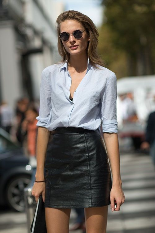 jean shirt, leather skirt