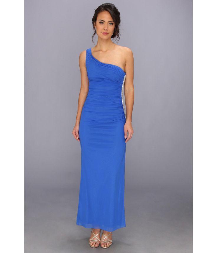 Rochie albastru royal cu un umar dezgolit
