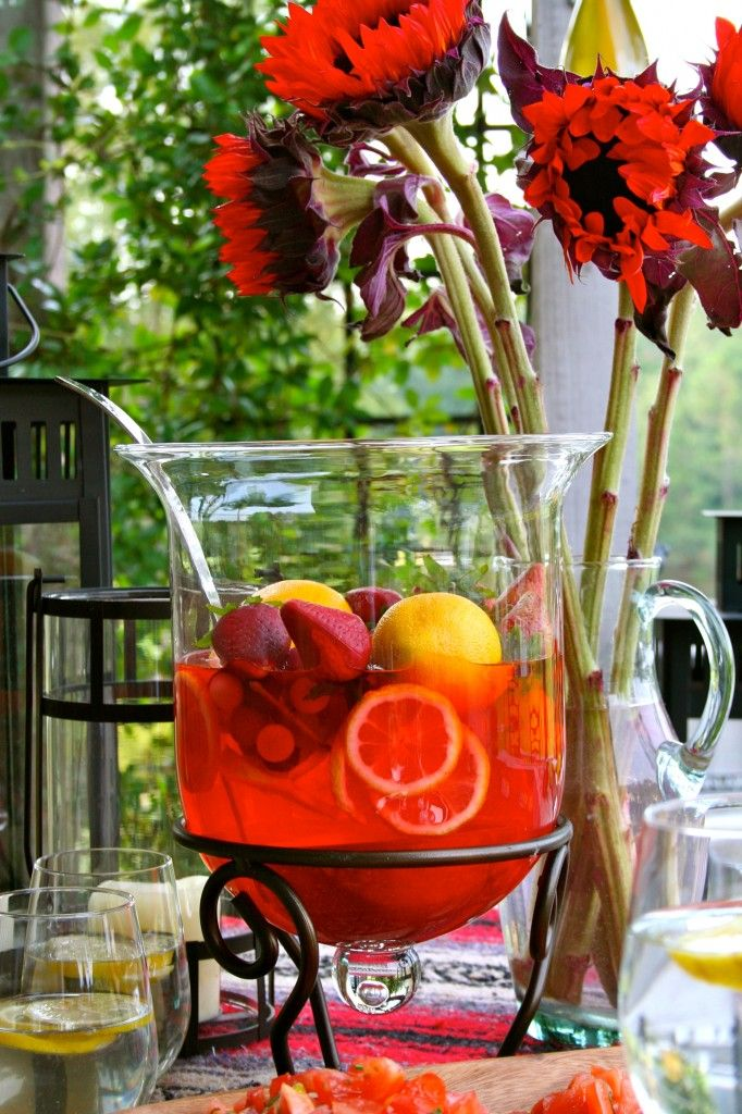 Lovely Presentation....: Punch Bowls, Lovely Presentation Open, Cloche Turned, Entertaining Ideas Outside, Ideas Misc, Party Ideas, Presentation Open Sangria, Sangria Bowl
