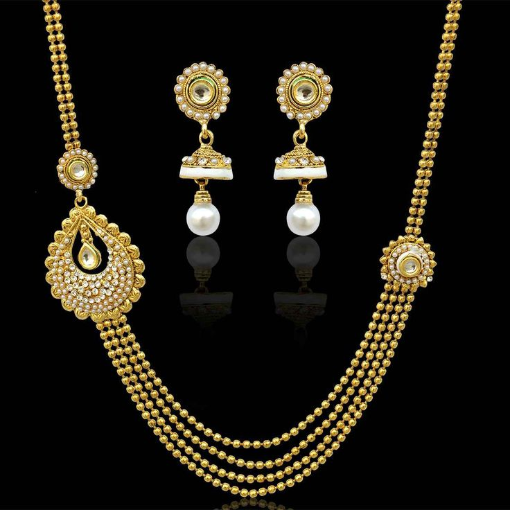 Traditional glowing bridal india pearl meena necklace kundan set