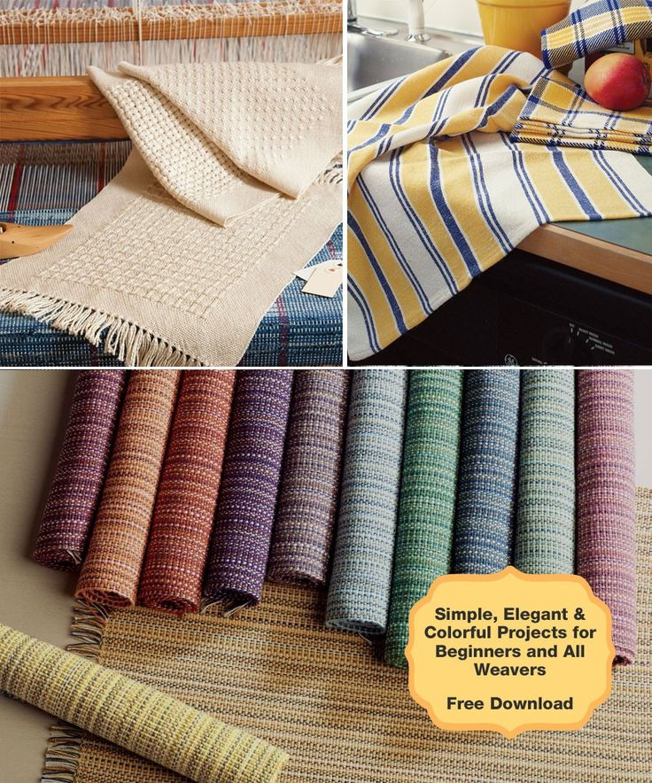 Easy weaving projects for beginners! Download this free guide and get simple, elegant projects like placemats and towels to get started weaving.