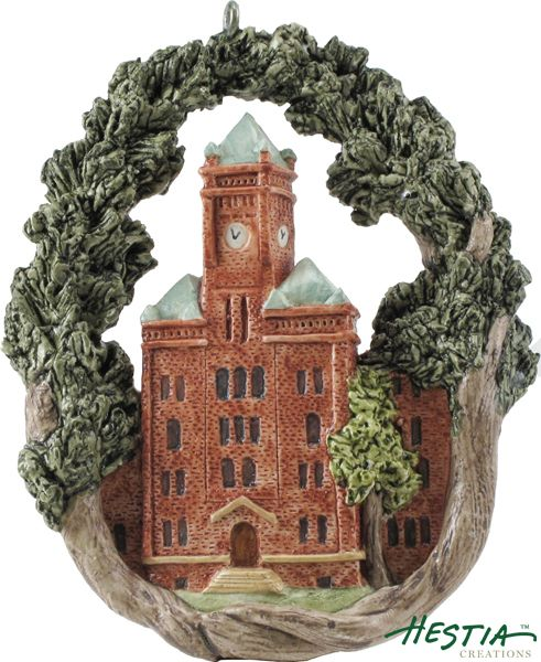 Biddle Hall at Johnson Smith University in Charlotte, North Carolina sculpted ornament by Hestia Creations. #hestiacreations #customgift #marbleheadma #johnsonsmithuniversity #charlottenc