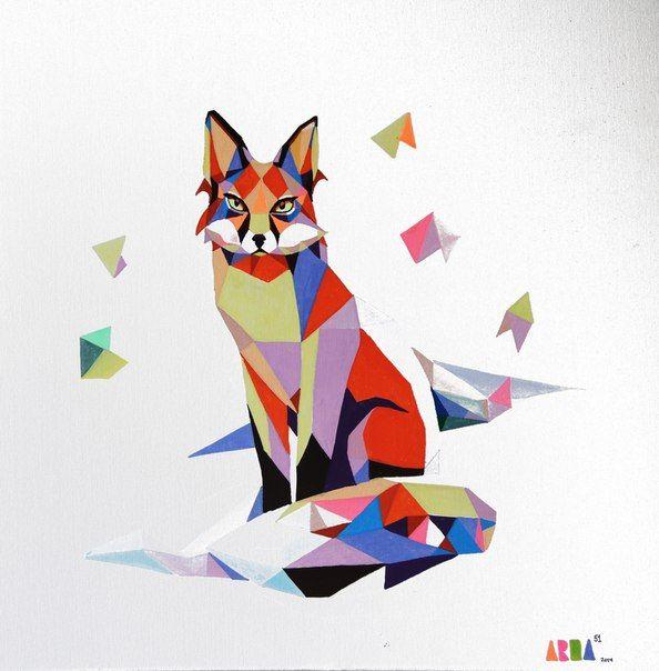 polygonal animals, fox, illustration, molotow, canvas, painting,