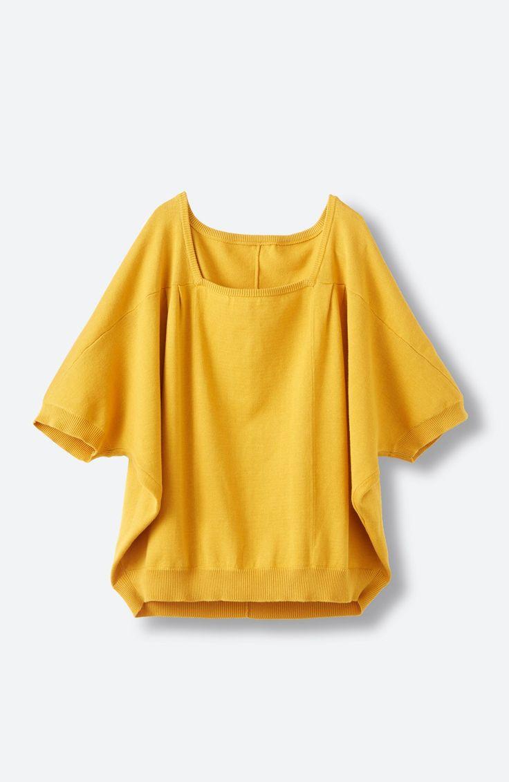 haco! PBP Tシャツ感覚で着られる ドルマン袖のさらりコットンニット <マスタード>の商品写真2