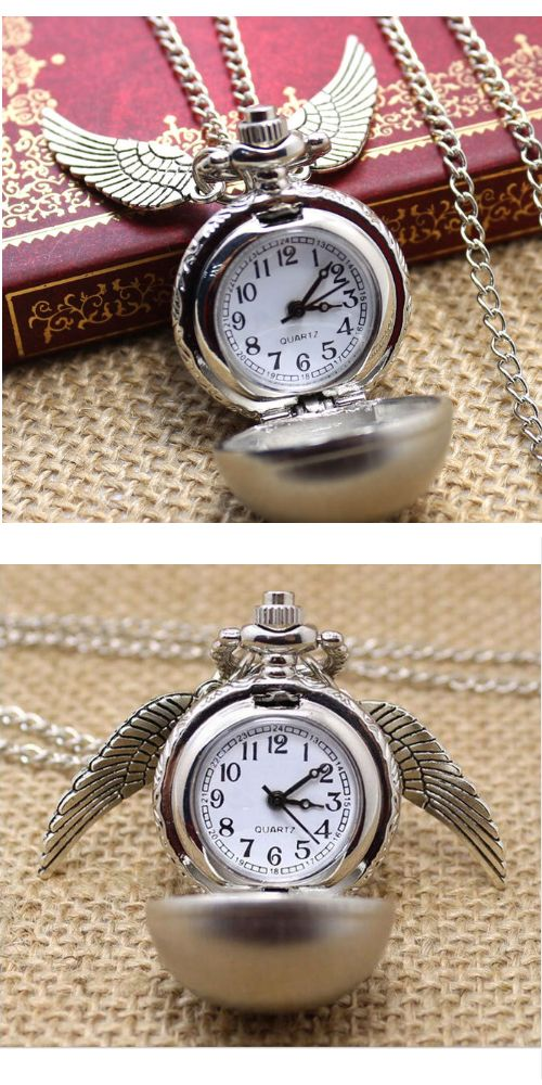 Steampunk Harry Potter Golden Snitch Wings Pocket Watch Necklace A high quality quartz movement-hour, minute, second hand display silver tone finish, can be worn as a necklace watch. Inspired by the Harry Potter film. Perfect gift for Harry Potter fans or for anyone.