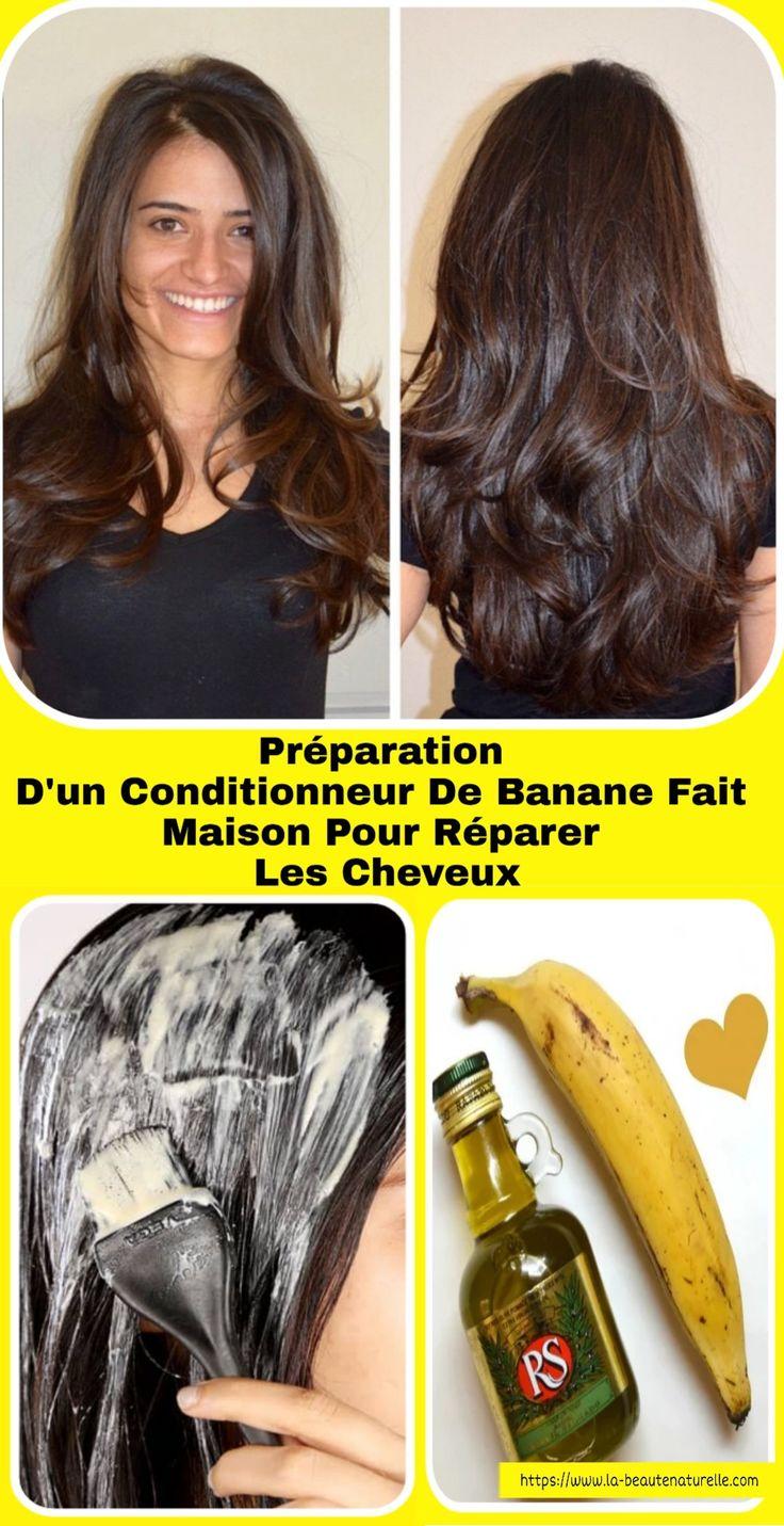 Préparation d'un conditionneur de banane fait maison pour réparer les cheveux