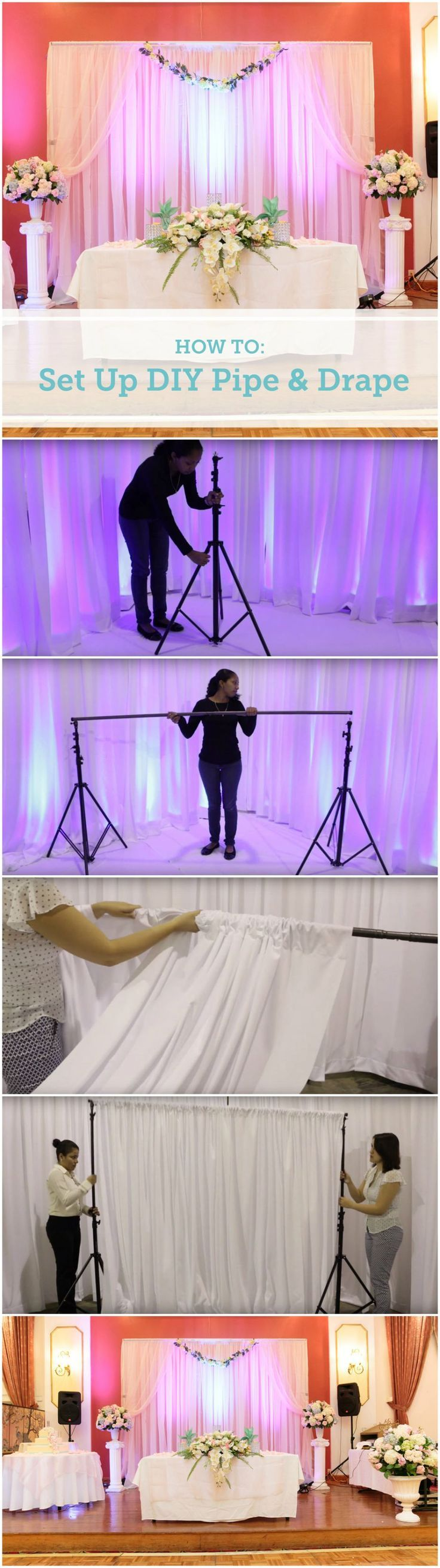 Setting up the DIY Pipe and Drape kits from @Rent My Wedding http://thebudgetsavvybride.com/how-to-set-up-a-diy-wedding-backdrop/