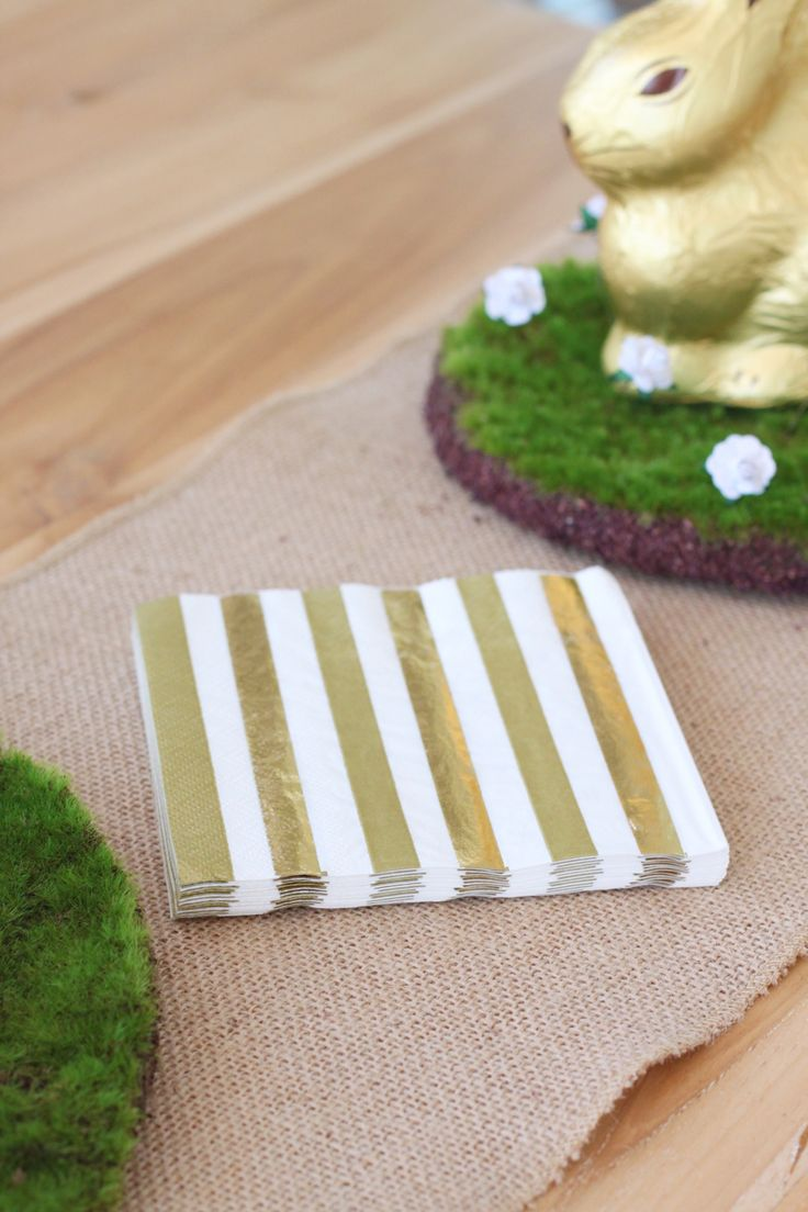 Gold & White Striped Napkins. Shop here http://www.hipandhooray.com.au/gold-stripes-spots-serviettes-napkins-12.5cm-20pk