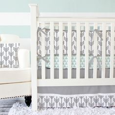 Our gray and white arrow baby bedding is perfect for your modern nursery design!