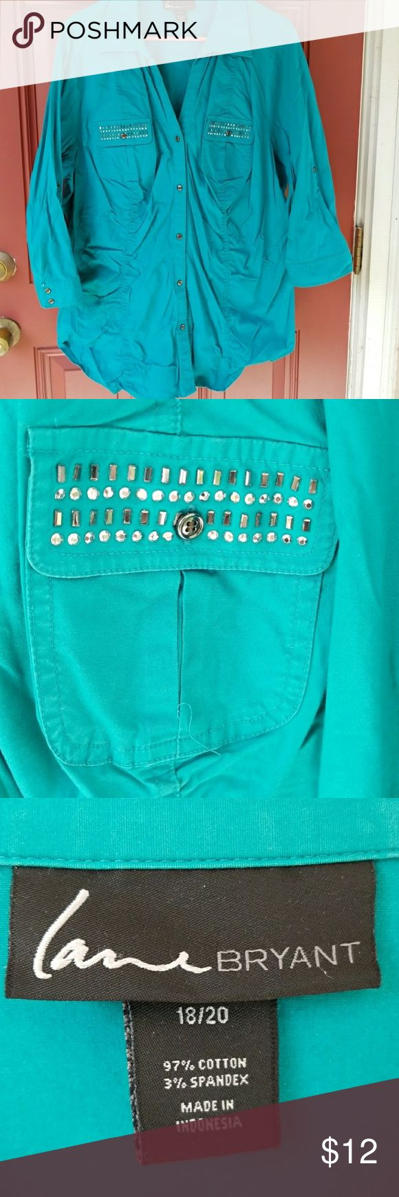 Teal shirt 3/4 sleeve teal button up shirt. Two front pockets with accents. Lane Bryant Tops Button Down Shirts