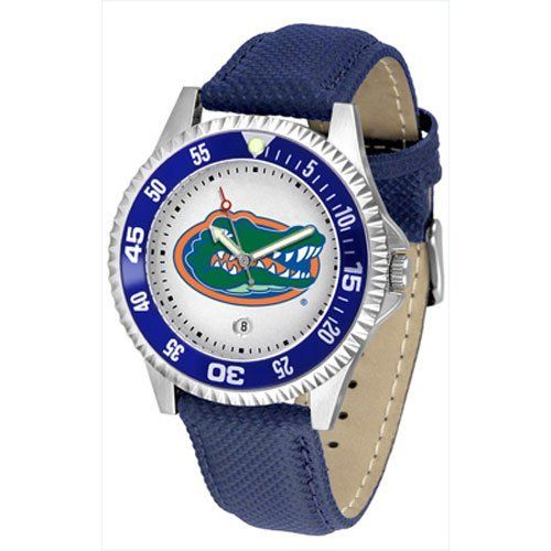 "Florida Gators NCAA ""Competitor"" Mens Watch by SunTime. $73.79. Calendar Date Function. Color Coordinated. Rotating Bezel. Showcase The Hottest Design In Watches Today! A Functional Rotating Bezel Is Color Coordinated To Highlight Your Favorite Team Logo. A Durable, Long Lasting Combination Nylon/Leather Strap, Together With A Calendar Date, Round Out This Best Selling Timepiece."
