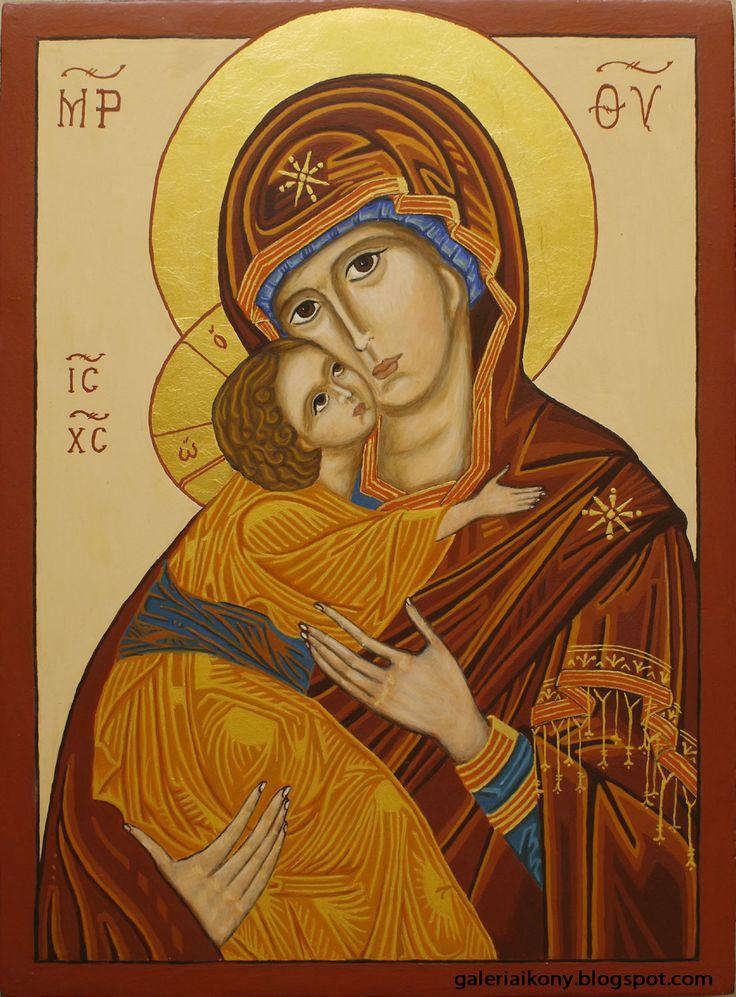 Mother of God Eleusa - Hodegetria. Egg tempera on wooden board.