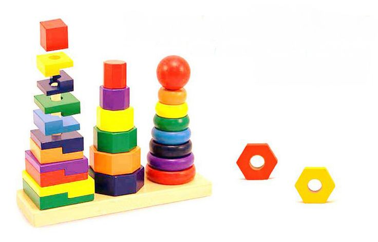 Three Sets Of Tower Column Geometry Set Rainbow Shape Matching  Wooden Toys For Children