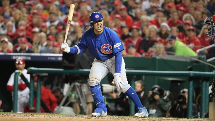 October 12, 2017:  NLDS Game 5: Cubs-Nationals -   the Cubs advanced to the National League Championship Series with a thrilling 9-8 victory over the Nationals in Game 5 of the NLDS.  Cubs left fielder Jon Jay is hit by a pitch from Nationals pitcher Max Scherzer.