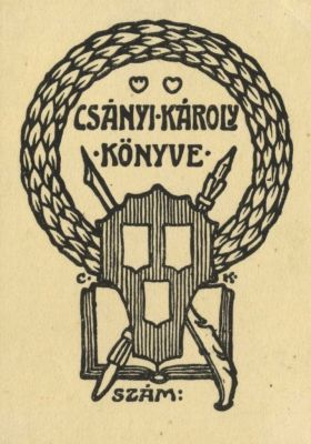 Bookplate by Károly Csányi for Himself, 1905c.