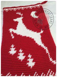 Christmas stocking gift sack crochet pattern, tapestry crochet graphing technique
