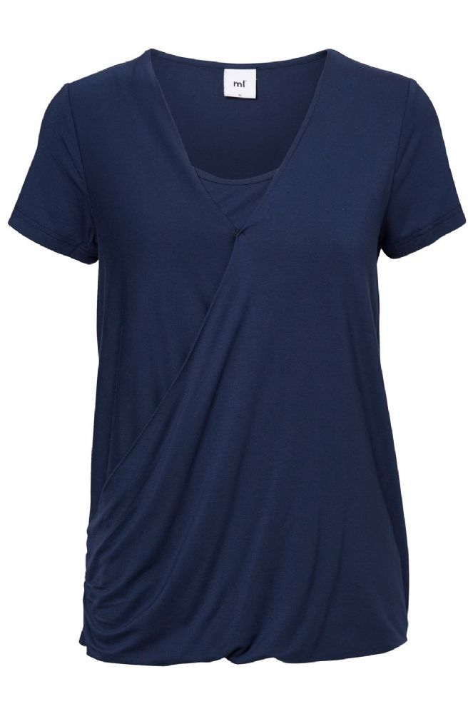 Mama Licious Jersey Maternity Top, Short Sleeved Women Blue