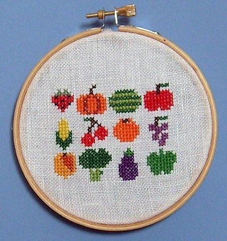 FREE Fruits & Veggies Cross Stitch Pattern from Disorderly Stitches!   Tiny Modernist