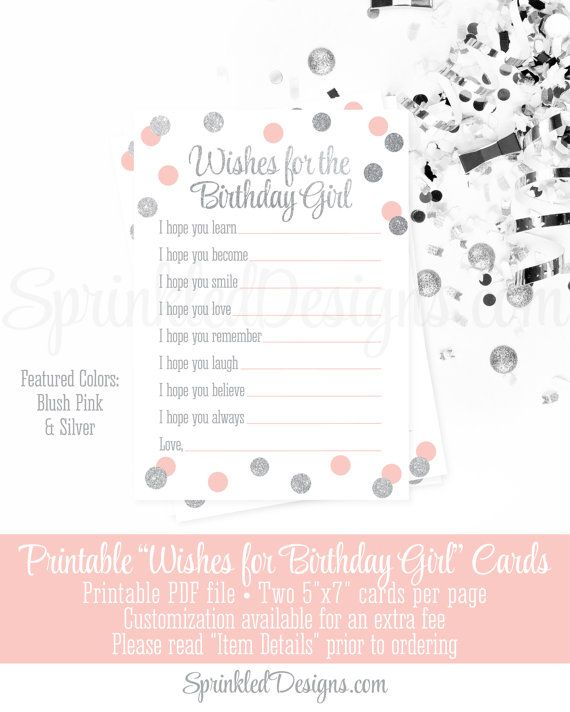Birthday Wishes for Birthday Girl - Blush Pink Silver Glitter Printable 5x7 Cards - Birthday Party Printables, Guest Book Keepsake