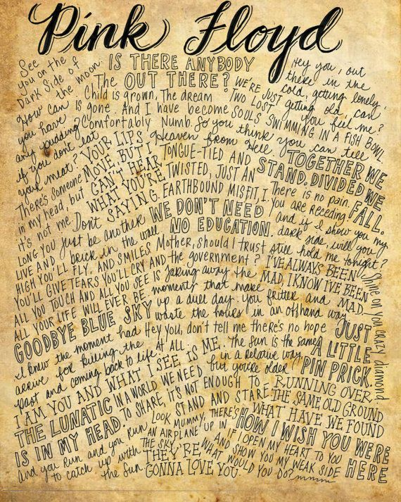 Pink Floyd Lyrics and Quotes - 8x10 handdrawn and handlettered print on antiqued paper rock music lyrics