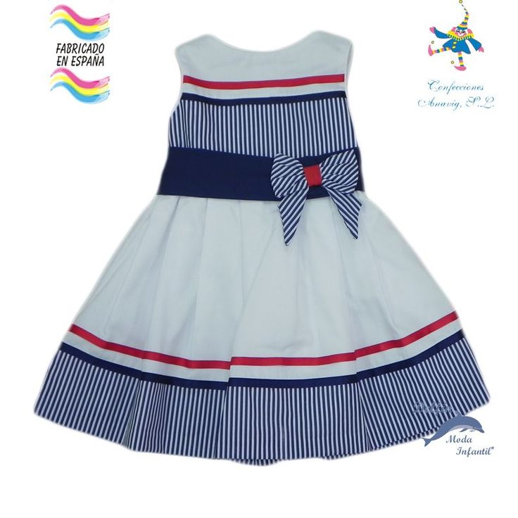 Vestido de niña PIZPIRETA pique marinero blanco