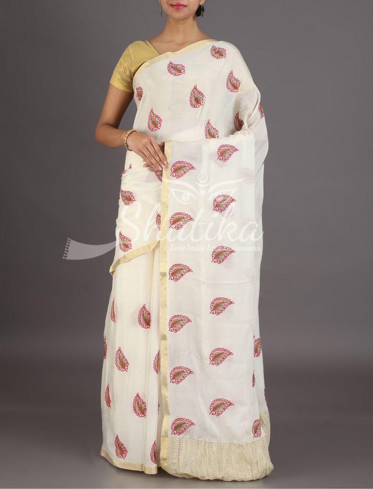 Navya Pristine Off White Leaf Motifs Pure Mysore Chiffon Saree